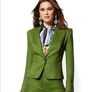 New York and company flex linen green jacket